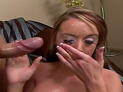 Facial cumshot gets in her eye