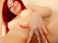 Beauty in dress and stockings solo masturbation