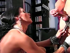 Kinky Carmen abuses his cock badly