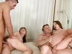Hot fourway fuck with two cute couples