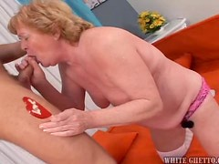 A Sweet Granny Makes A Hard Cock Cum On Her Breasts