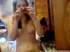 Brunette teen recording herself in the nip