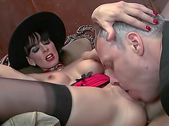 Corset and stockings girl fucked hard