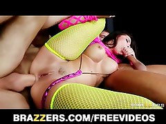 Big-booty stripper in fishnets gets double teamed