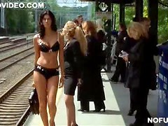 Gorgeous Brunette Waiting For The Train In Her Sexy Lingerie