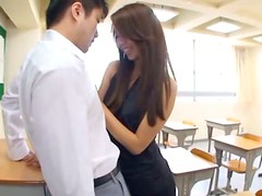 Hot Asian Teacher Licking Ass and Getting Fucked in the Classroom