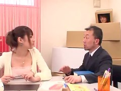 Asian Teacher Sucking Two Cocks at the Same Time