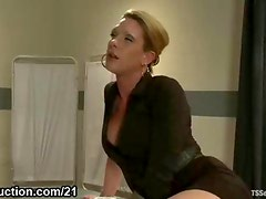Tranny fucks her coworker and cums on his face in office