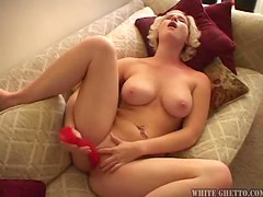 Horny Blonde Babe Plays Alone With a Pink Plastic Cock