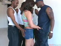 Beautiful Kacey Kox in an amazing interracial gangbang video