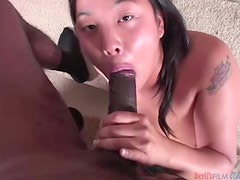 POV Deep Throat From An Asian Babe To A Big Black Cock