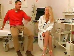 Blonde doctor examines patient and fucks him