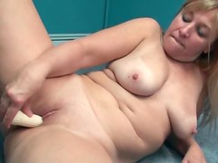 Chubby amateur dildo fucking in home office