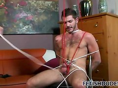 Tied up and lightly flogged by dominant daddy
