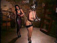 Hot blond gets bound and teased in latex