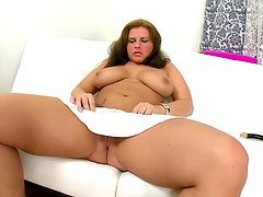 Chubby girl solo dildo sex with moans