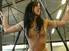 Tied and sexy brunette with small tits wants her master to punish her outdoors