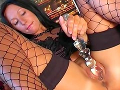 Taylor has some fun the glass dildo