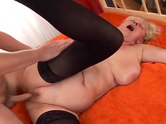 Naughty grandma seduces her neighbor's son