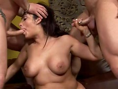 Busty brunette milf Vannah gets two huge cocks