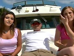 Anal girls have group sex on a boat