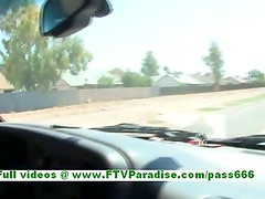 Pamela superb busty blonde girl driving a car and flashing tits