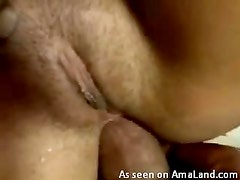 Hairy pussy chick enjoying some wild anal sex