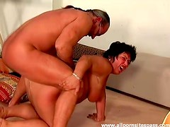 Fat old lady fucked and taking cumshot on tits