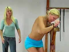Bound girl flogged over her back