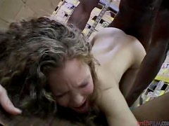 Curly Amber Ways gets gangbanged in the sorage