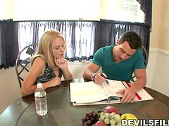 Busty blondie seduces her son in law and rides him
