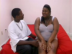 Pregnant Black BBW Taking On a Huge Cock