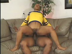 Hairy Ebony Babe Black Cat Gets Fucked In Her Cheerleader Uniform