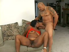 Curvaceous BBW Ebony Slut Sucks Cock and Gets Her Hairy Pussy Fucked