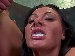 Cum lands in her whore mouth