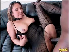 Collar and lingerie on a chick taking black cock