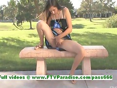 Miley naughty busty brunette flashing her boobs in a public place