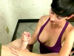 Amateur babes tugging for cum from her man