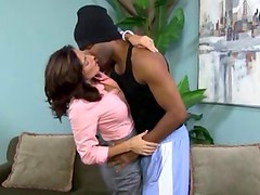 Hot MILF shows how to fuck a black man