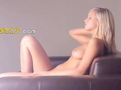 Huge glass toy in her blondes hole