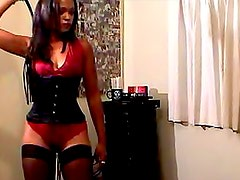 Black dominatrix abuses that soft ass