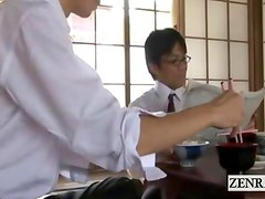 Subtitled apoplectic Japanese schoolgirl strips at home