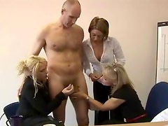 Horny cfnm fetish office bitches