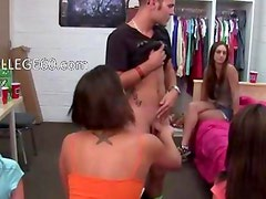 Group of college girls eat one dick
