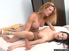 Two busty shemale honeys are fucking each other so good