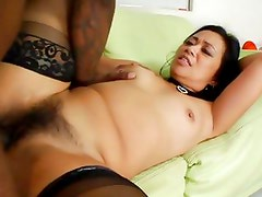 Hairy pussied Lucky Starr gets anal