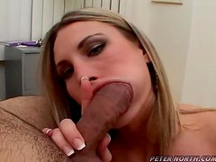 Harmony Rose blows and lets the man cum on her face