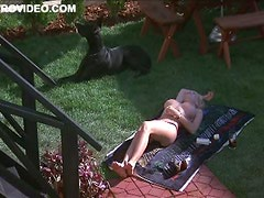 Busty Kimberly McArthur Topless In the Backyard
