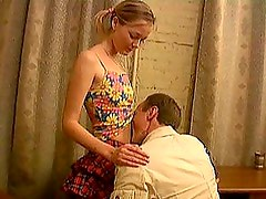 Blonde Schoolgirl Getting Her Pussy Fucked By an Older Man