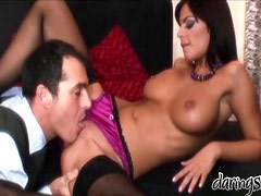 Stunning Black Angelika gets fucked in both holes